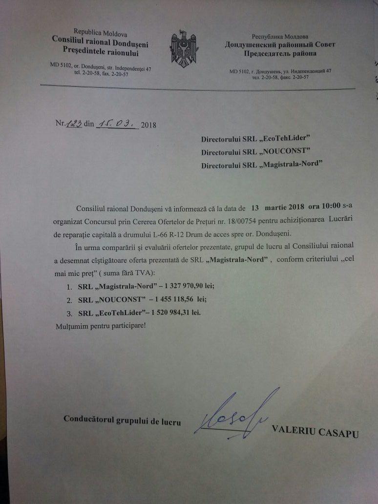 Rezultatele COP nr. 1800754 din 13.03.18 pentru achiziționarea Lucrări de reparație capitală a drumului L-66 R-12 Drum de acces spre or. Dondușeni