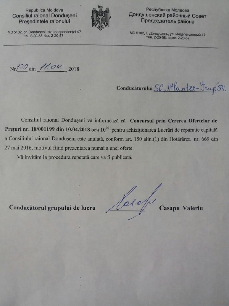 Rezultatele COP nr. 1801199 din 10.04.18 pentru achiziționarea Lucrări de reparație capitală a Consiliului raional Dondușeni
