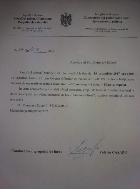Rezultatele Lucrări de reparație curenta a drumului L-63 Dondușeni – Scăieni – Tîrnova COP nr. 1703397 din 10.10.17