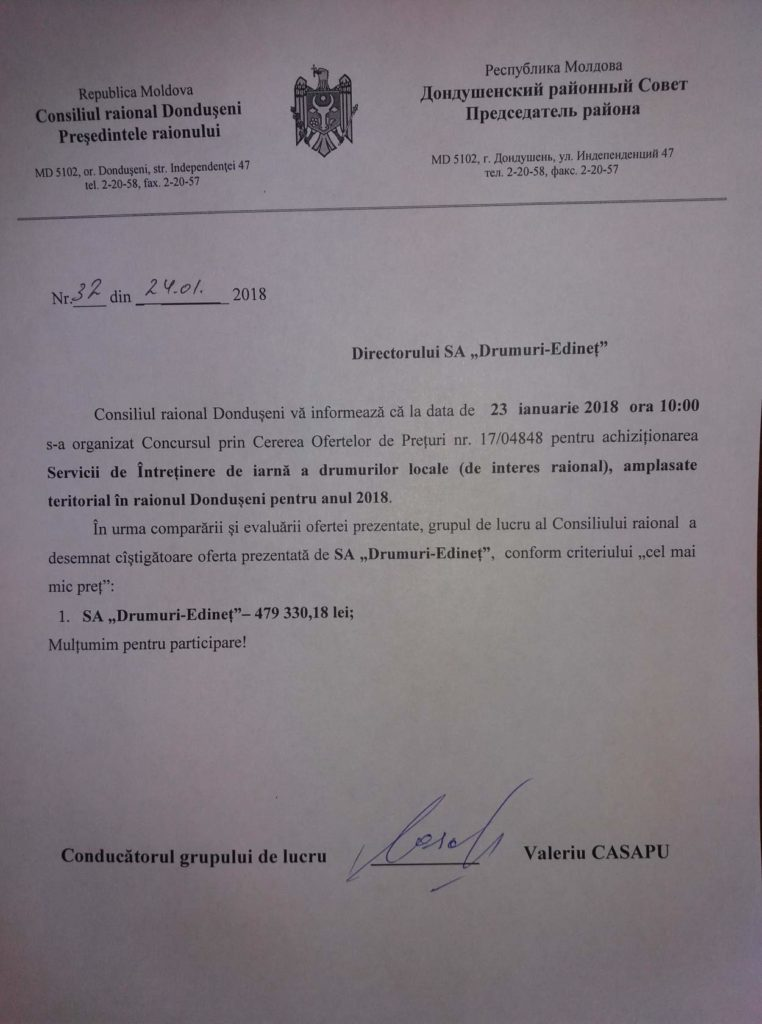 Rezultatele procedurii 17 04848 din 23.01.2018 Servicii de Întreținere de iarnă a drumurilor locale amplasate teritorial in r. Donduseni pentru 2018