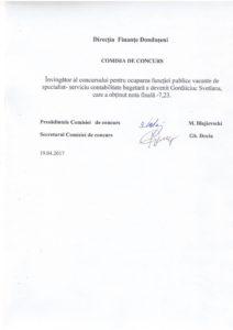 Rezultatul concursului pentru ocuparea funcției de specialist-serviciu contabilitate..