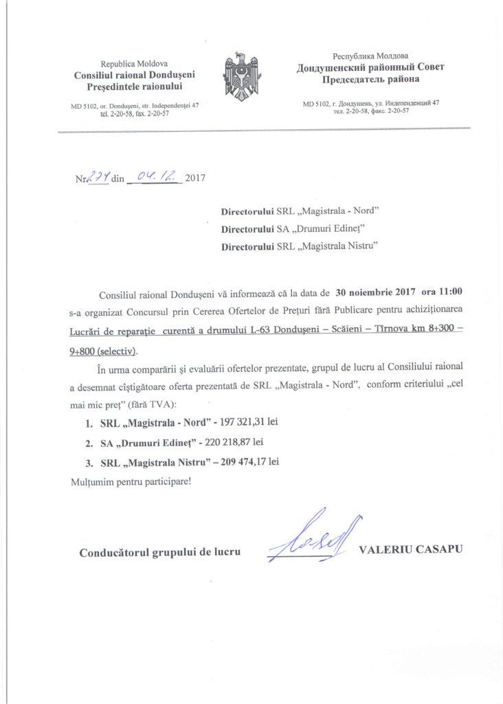 Rezultate procedurii COPF din 30.11.17 -Reparatia curenta a drumului L 63 Donduseni scaieni tirnova km 8+30 - 9+800 (selectiv)