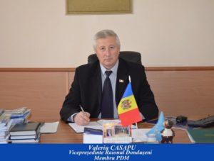 Felicitare pentru domnul Valeriu CASAPU,  vicepreședinte al raionului DONDUȘENI  cu prilejul jubileului de 60 de ani (10.11.2018)