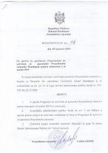 Dispoziție cu privide la aprobarea programului de activitate al aparatului președintelui raionului pentru trim. I 2019