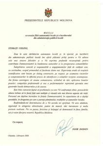 Mesaj cu ocazia Zilei autonomiei locale și a lucrătorului din administrația publică locală